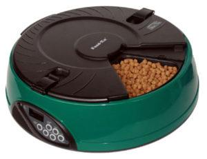 Автоматическая кормушка на 6 кормлений для кошек и мелких пород собак. Цвет зеленый
