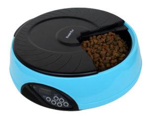 Автоматическая кормушка для кошек и собак с ЖК дисплеем. Цвет голубой