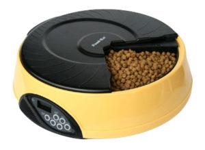 Автоматическая кормушка для кошек и собак с ЖК дисплеем. Цвет желтый
