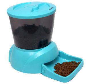 Автоматическая кормушка для кошек и мелких пород собак. Цвет голубой