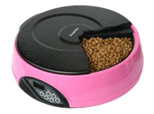 Автоматическая кормушка для кошек и собак с ЖК дисплеем. Цвет розовый