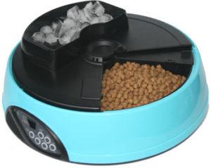 Автоматическая кормушка для кошек и собак с ЖК дисплеем и емкостью для льда. Цвет голубой
