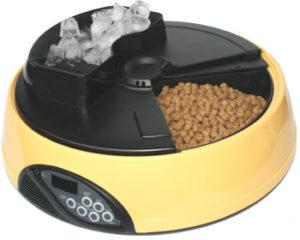 Автокормушка для кошек и собак с ЖК дисплеем и емкостью для льда. Цвет желтый