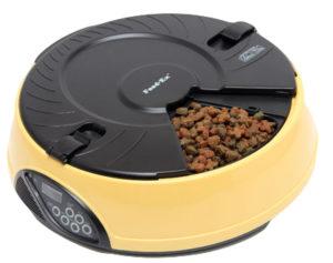 Автоматическая кормушка на 6 кормлений для кошек и мелких пород собак. Цвет желтый