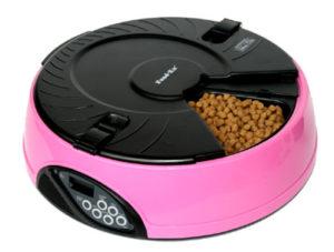 Автоматическая кормушка на 6 кормлений для кошек и мелких пород собак. Цвет розовый